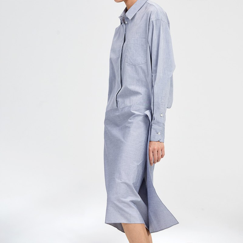 G果GAOGUO original design cotton variegated shirt style long temperament silhouette side buckle pencil dress