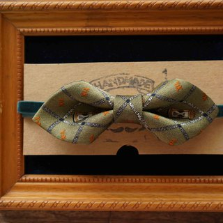 Antique Tie Remanufactured Handmade Bow Tie - Green Autumn Hourglass - Wide Edition