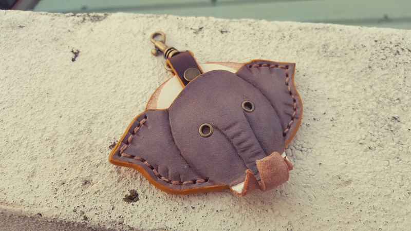 Elephant gogoro key grey/primary pure leather leather case