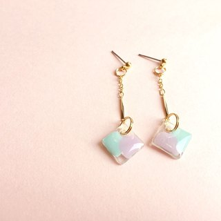 Pink diamond - green hand-painted hand-drop earrings ear style