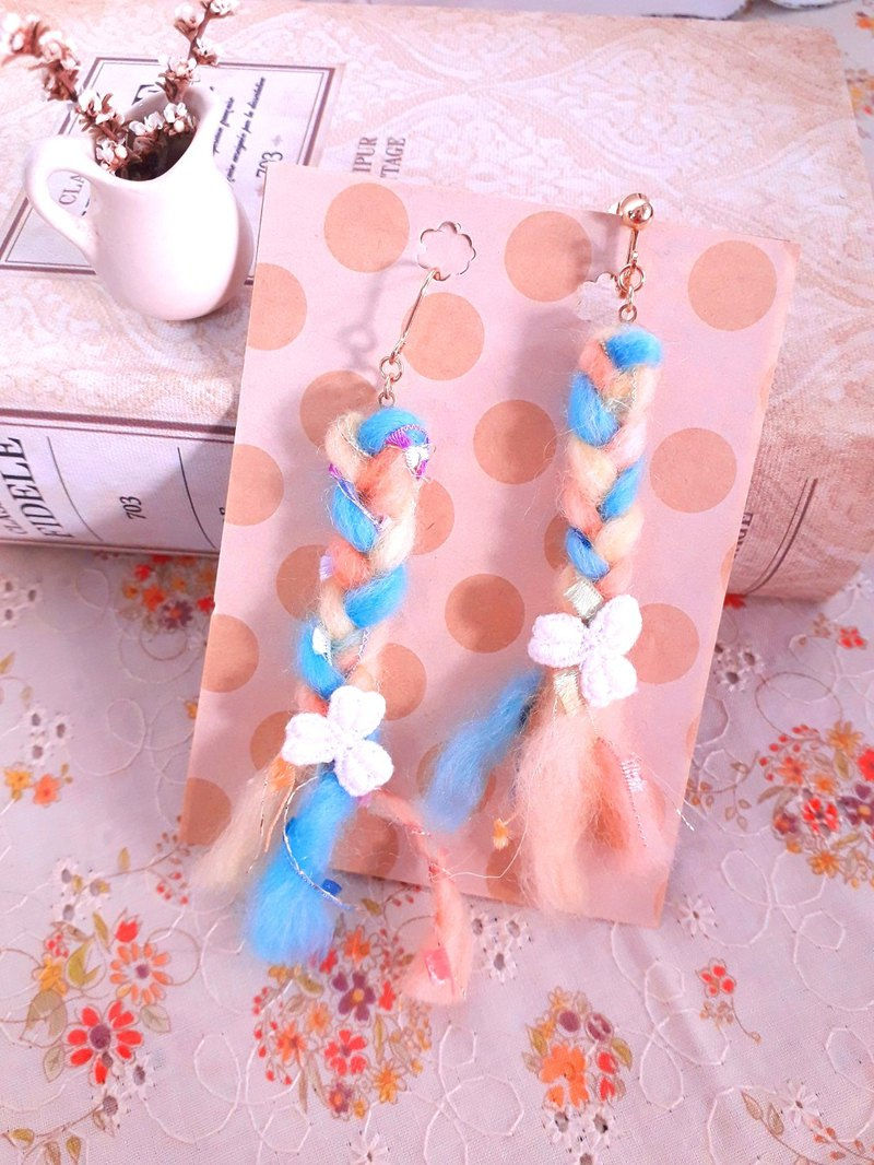 Candy color hand-knit braided braid feel earrings * a D142 gift forest dream sweet girl heart