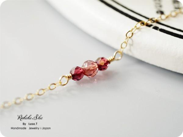 A stone symbolizing fruit fulfillment of love 14KGF garnet anklet