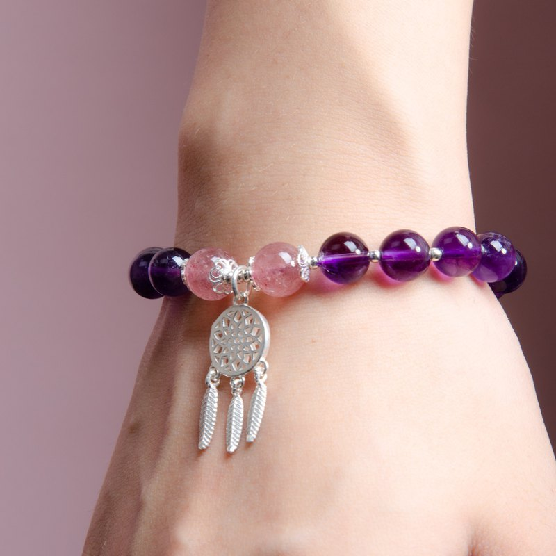 Amethyst, Strawberry Rose Quartz, 925 Sterling Silver Dreamcatcher Bracelet
