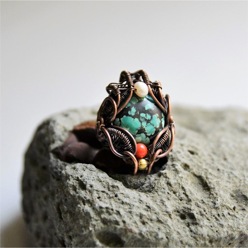 [Wandering song] Turquoise pure copper ring freshwater pearl / red coral ethnic style handmade design