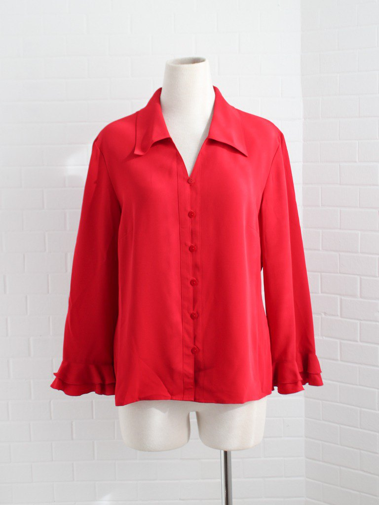 Retro European fresh and simple early spring loose red personality long sleeve vintage shirt