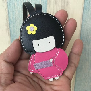 Leatherprince Handmade Leather Taiwan MIT Pink Cute Japanese Doll Hand-stitched Leather Charm Small size small size