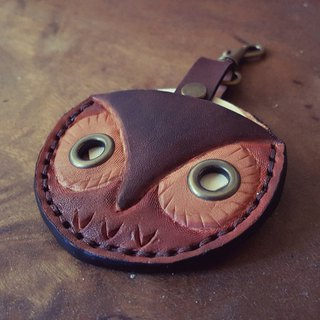 Owl gogoro key vintage color pure leather leather case back lettering