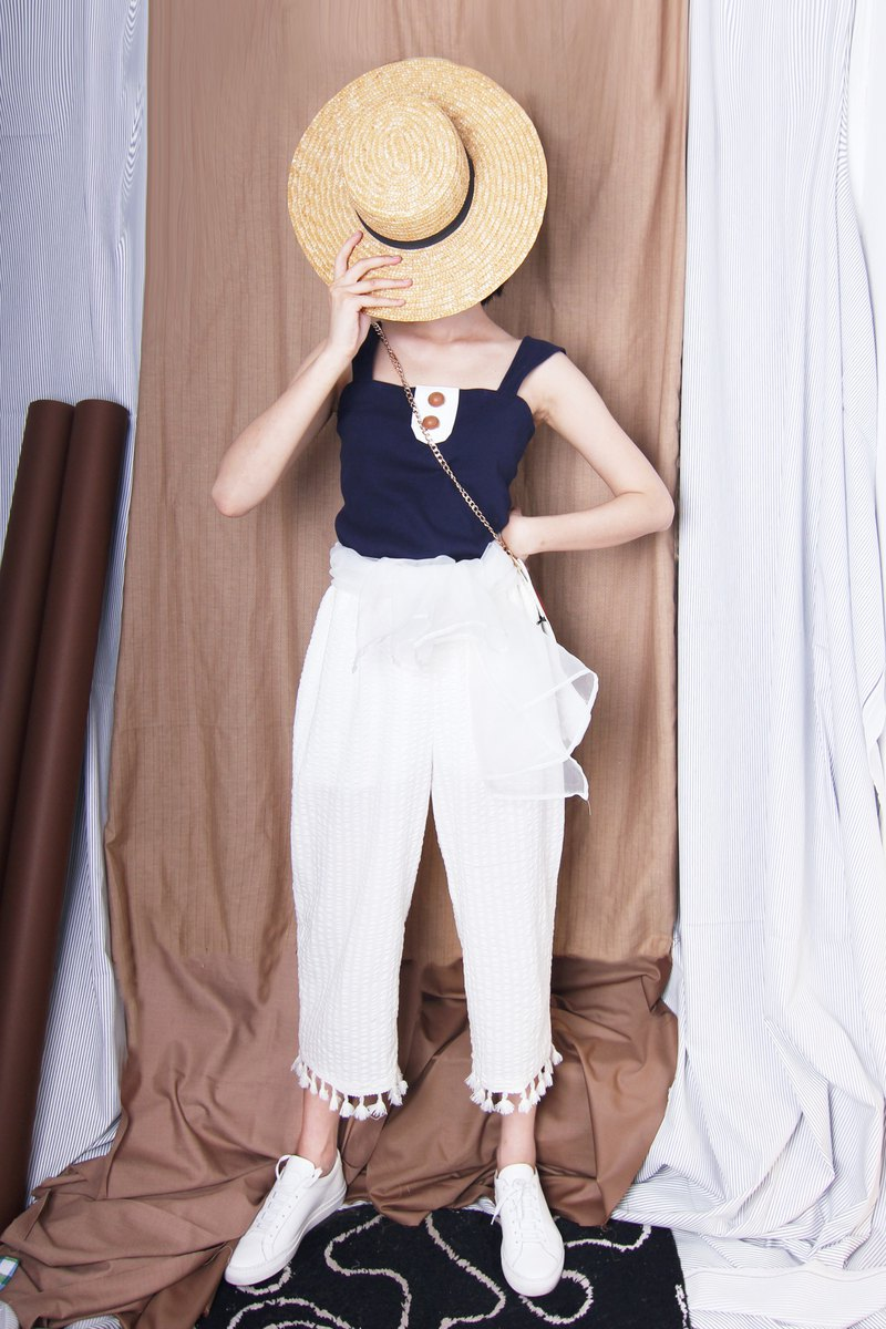 MAODIUL dark blue cotton knit wide sling knotted design doll sense decorative leather buckle vest