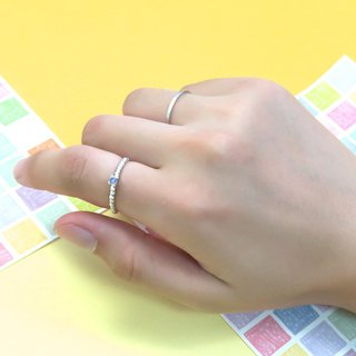 Ring twist small drill claw ring + square wire ring sterling silver ring (double piece group - optional color)