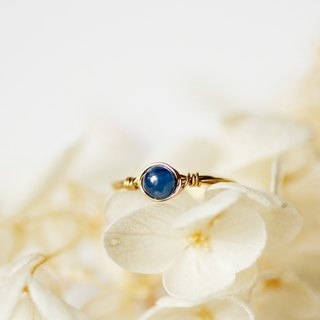 4mm blue crystal copper wire ring - gold