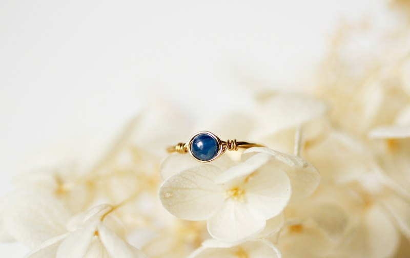 September Birthstone - 4mm Blue Crystal Copper Ring - Gold