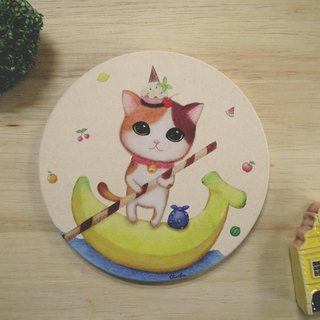 ChinChin hand-painted ceramic cat water coaster - banana sundae
