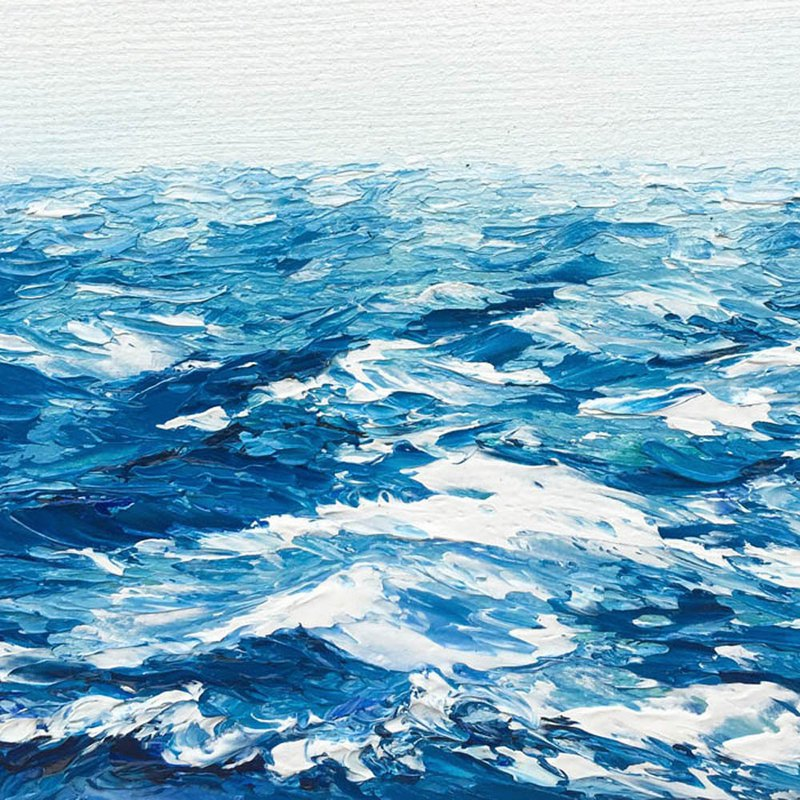 Impasto Ocean Art.Blue Waves Sea and Sky 3D Relief Art Thick Paint Tiny Scenery.