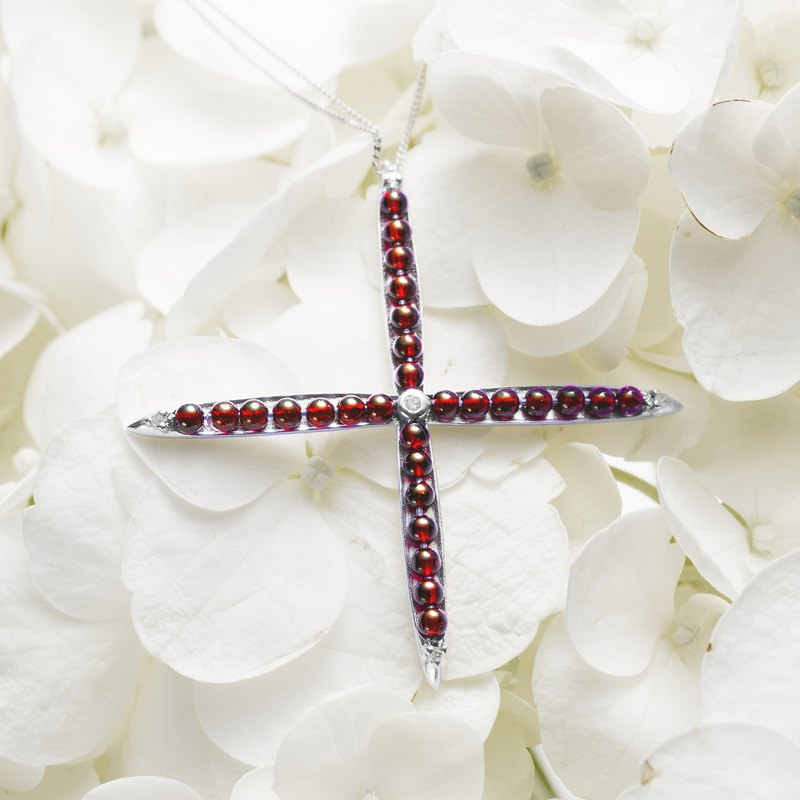 Garnet Cross Necklace, Red Pendant Bead Jewelry, Sterling silver cross