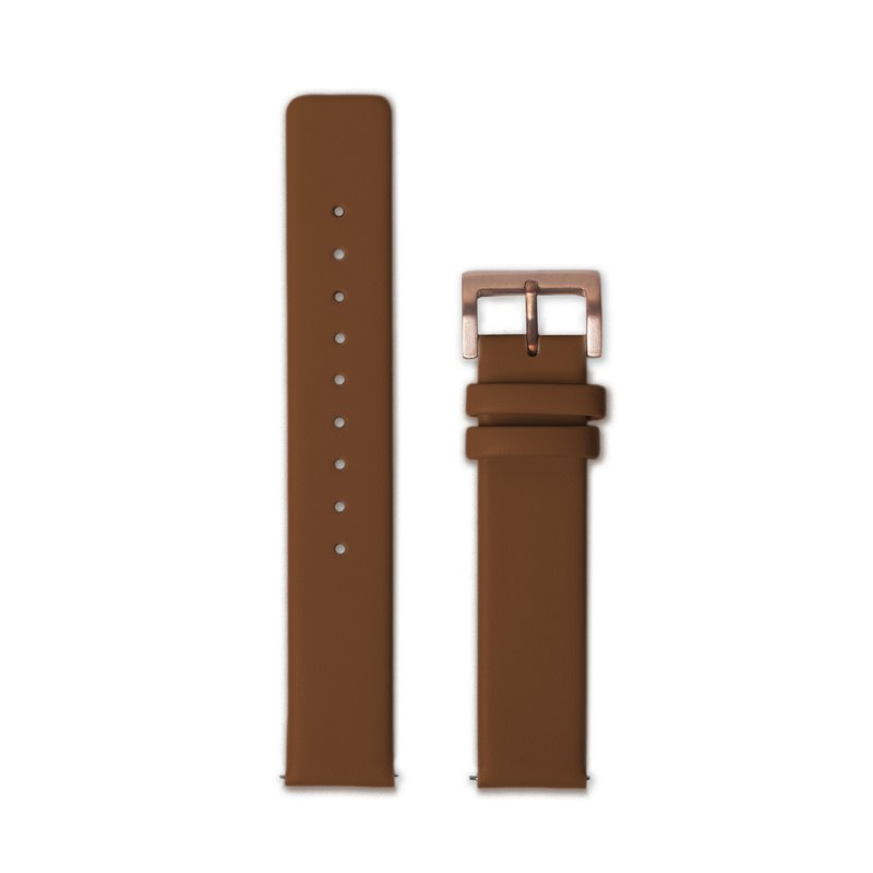 Hidden Time Watch 18mm Leather Strap - Brown Leather Buckle