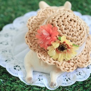Woven straw hat - Orange lace / pet accessories / dog / cat