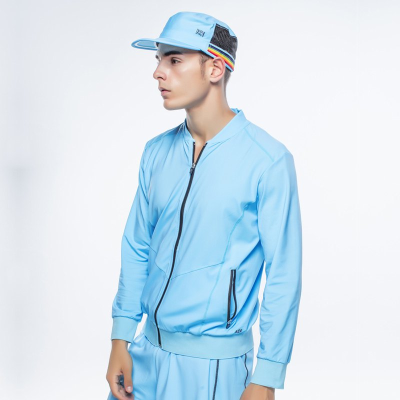 Stereoscopic & Functional Zip Shirt - Men - Blue