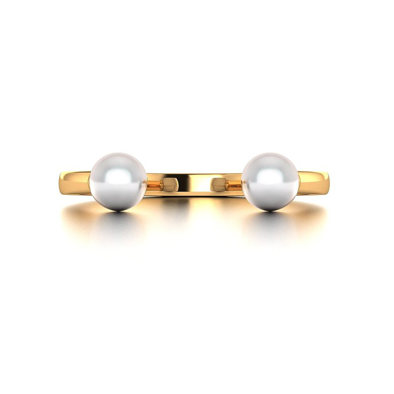 【PurpleMay Jewellery】18k Yellow Gold Double Akoya Pearl Ring Band R031
