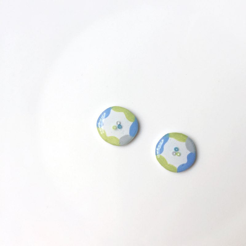 Button painting clip/needle earrings