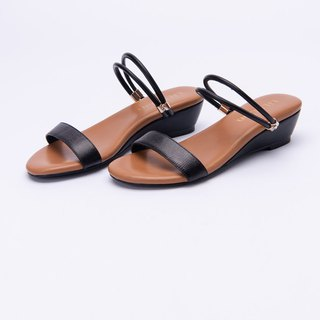 [Parallel time and space] word with diamond 2way stable small wedge sandals _ black Yao fans
