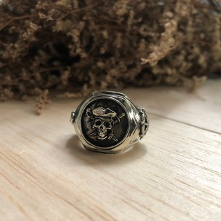 Pirate Ring Skull Biker Mens Crossbones Silver Jolly Roger anchor Ship's wheel