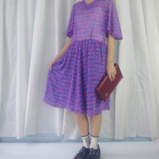 Treasure Hunting - Purple Print Chiffon Wide Sleeve Vintage Dress