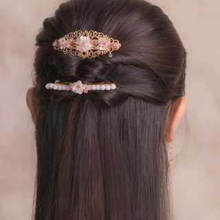 BLOSSOM Sakura Rose-gold Plated Hair Clip (S)
