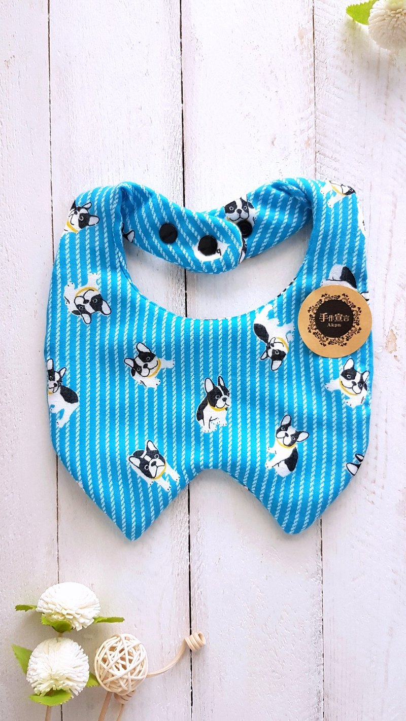Straight rule bucket - blue/tooth baby shape eight-layer yarn bib. saliva towel. 100% cotton