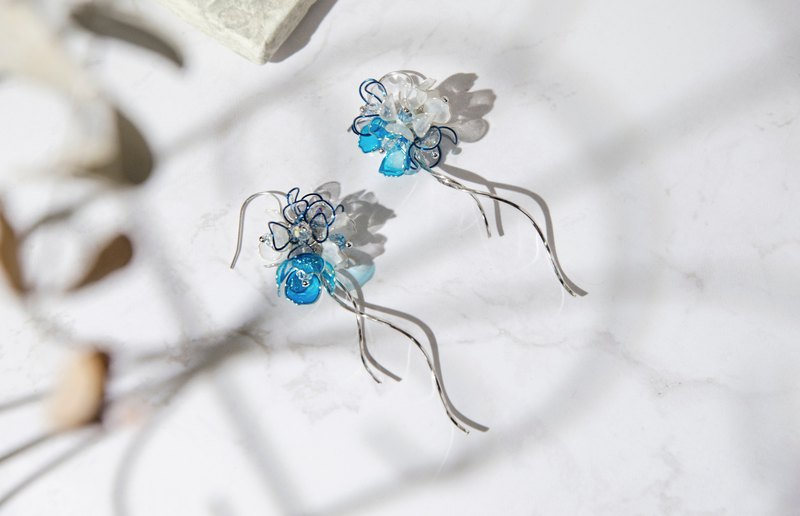 Flower Fairy - Aegean Declaration | Resin Earrings × 925 Sterling Silver × Draped