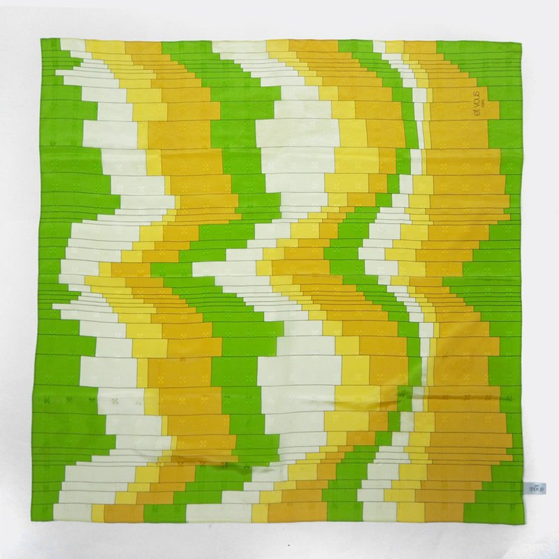 Yellow green gradient plaid antique silk scarf BO0029