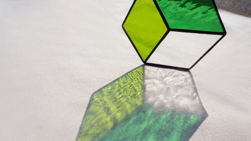 Positive and negative space - hexagonal green coaster home pad hanging glass mosaic