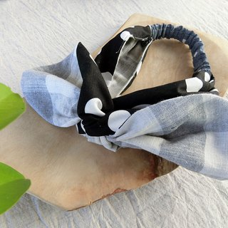 Classic plaid and dot double-sided arc hair band