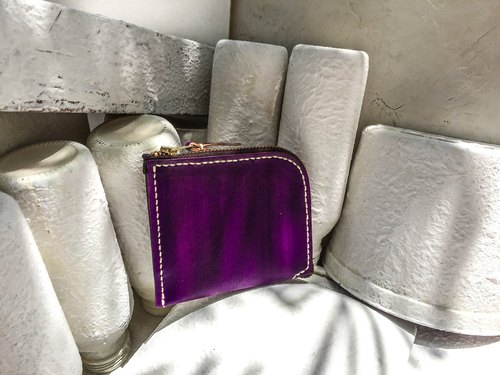 Do not hit the bag grape purple vegetable tanned leather full leather L-type purse
