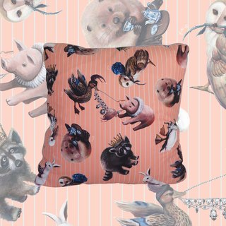 Animal Tea Party Pillowcase (Pastel Pink & Baby Blue Stripe)