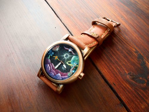 Universe two handmade watch handmade watch dial leather strap one piece only (SOLD 已售完)