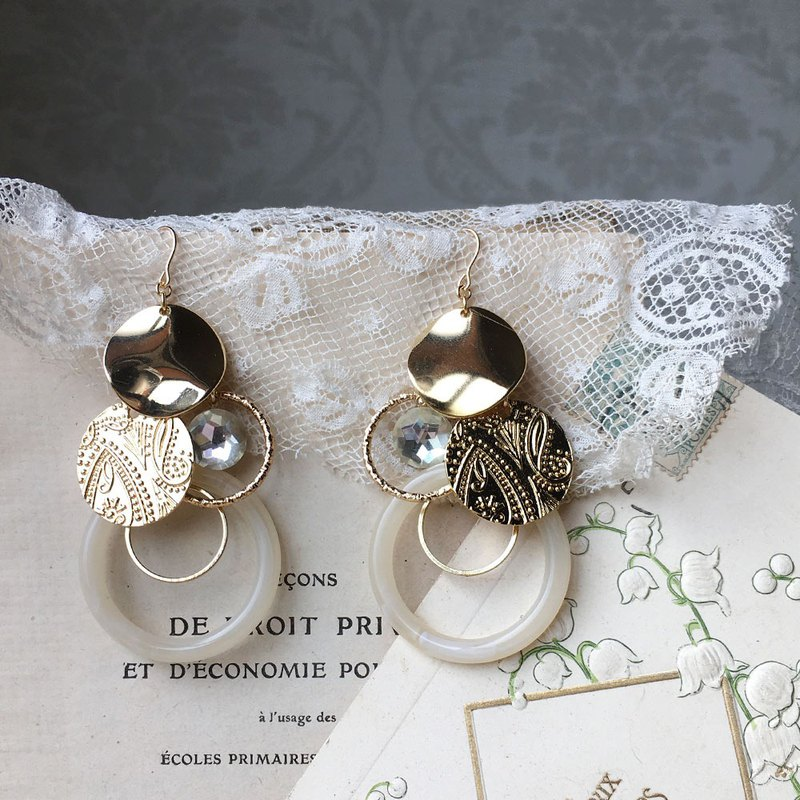 [Limited Weekly Sale] 14kgf Vintage Glass Stone and Metal Ring Full Earrings OR Brass Ear Clip