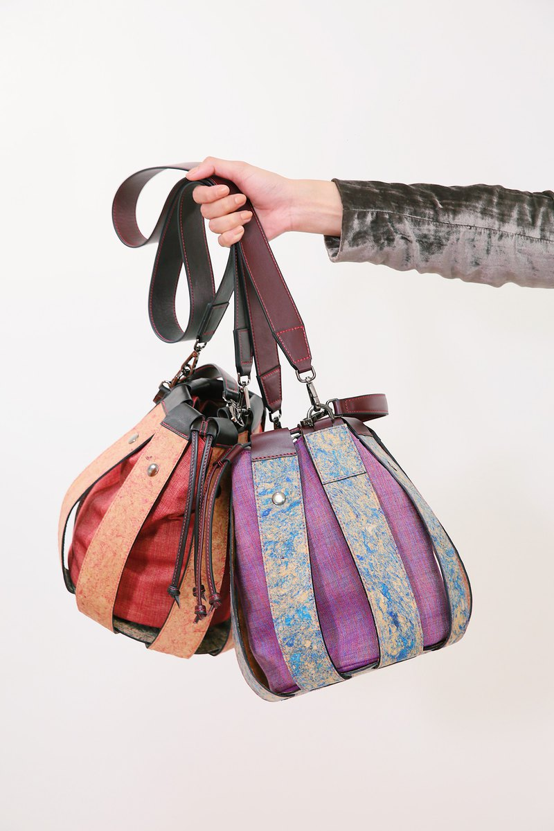 Ecobag, Bucket bag, Recycled leather with local handwoven cotton Thai fabric