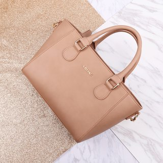 Gift preferred COSPAC light brown good texture imitation leather handbag