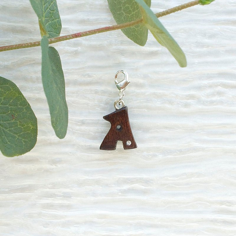 Letter wooden charm - A