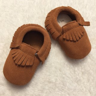 SanBelle Baby Fringed Moccasin Shoes ★Lether★0-18m Brown