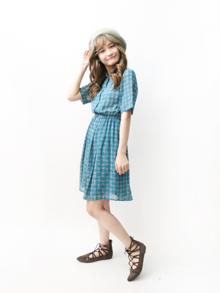 【RE0503D1133】 Japanese-made retro blue-green checkered short-sleeved spring and summer ancient dress