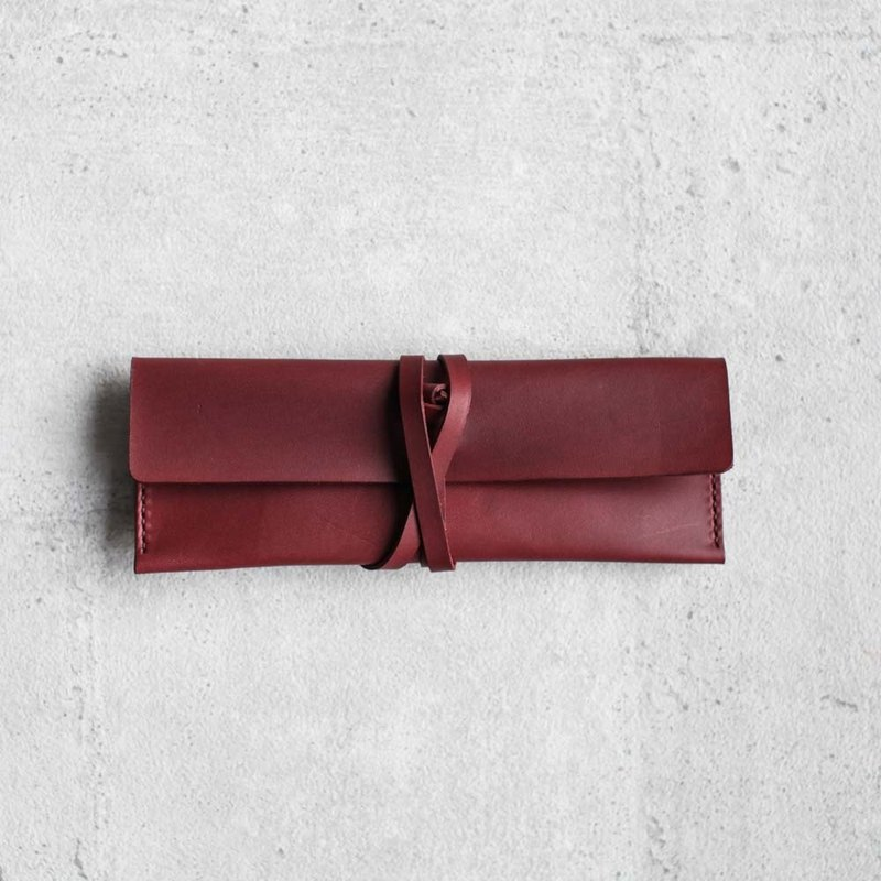 Burgendy Leather Pencil Case/Pen Pouch/ Sunglasses Case