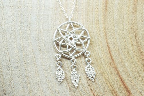:: Sussurro hand. Silver ornaments :: Dreamcatcher Dreamcatcher Necklace - 925 Silver / necklace pendant / 18 inches