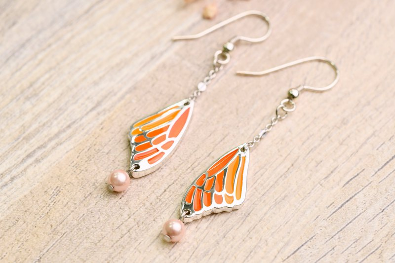 Cold Dragonfly Series - Butterfly Dancer Earrings Flash Cool Orange Gradient (ERIJA1039E-1)