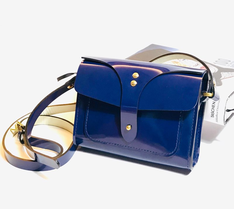 Blue patent leather crossbody bag