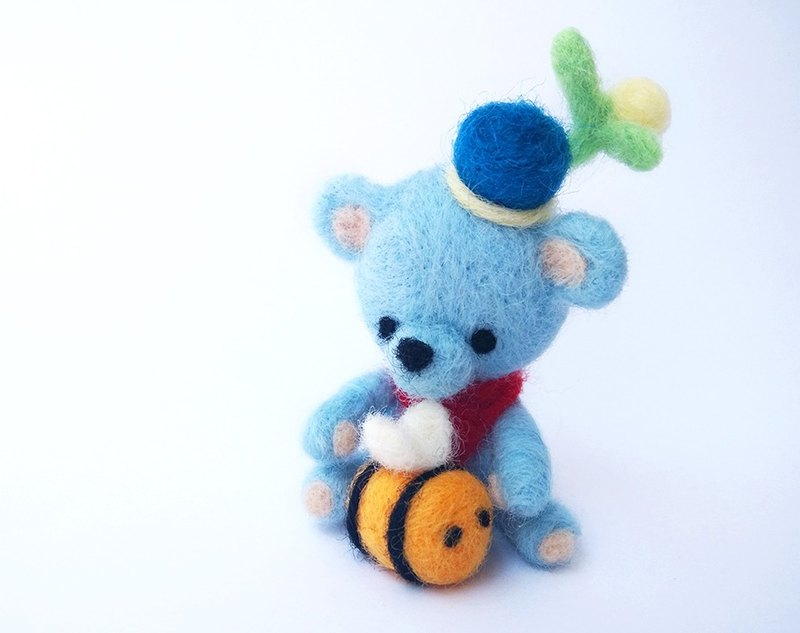 Needle Felted Blue Bear and Bee