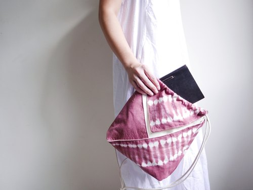 Tie dye/handmade/Kimono bag/hand bag/shoulder bag [Red Wine]