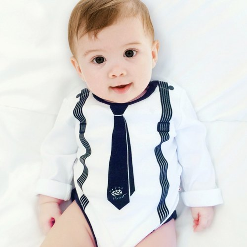 PUREST baby collection gentleman (tie) baby boy long sleeve jumpsuit (white)