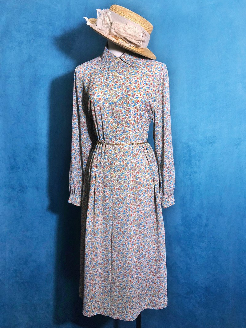 Flowers olive green long-sleeved vintage dress / abroad brought back VINTAGE