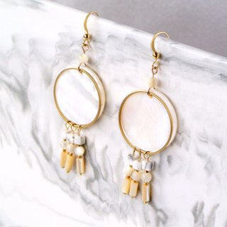 Simple system. Simple geometric tassel shell stone earrings